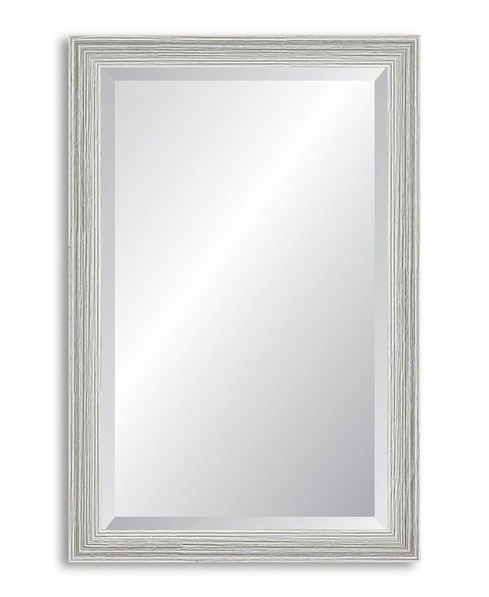Reveal Frame & Décor - Weathered Whitewash Beveled Wall Mirror