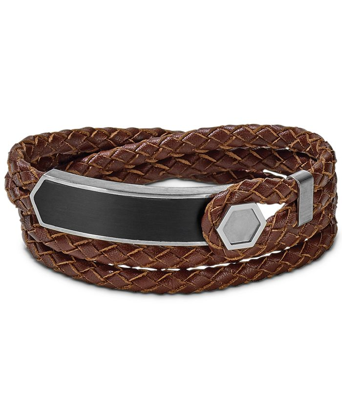 Bulova - Men's Brown Braided Leather Wrap Bracelet in Sterling Silver, J96B009M