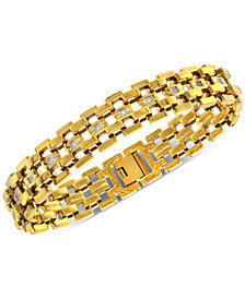 Men's Diamond Link Bracelet (1/4 ct. t.w.) in Yellow Ion-Plated Stainless Steel