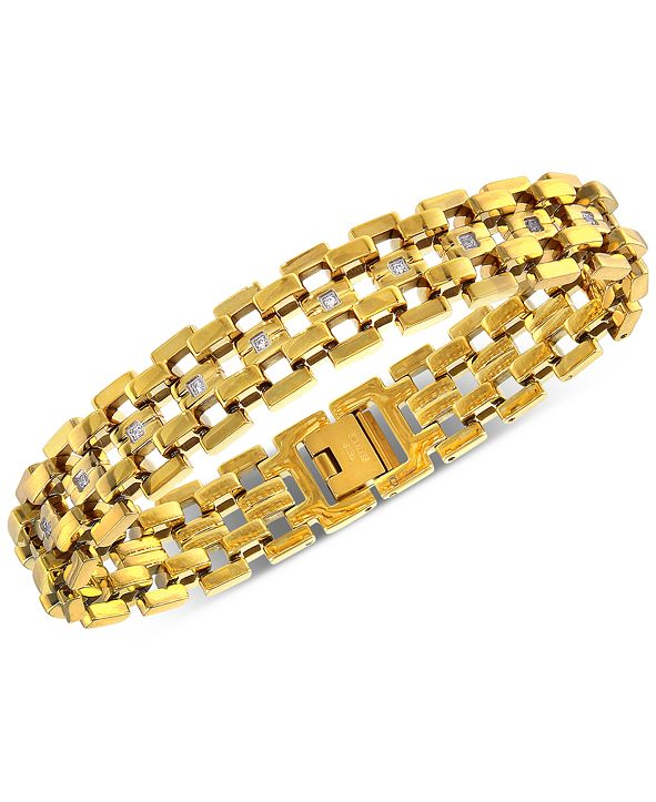 Macy's Men's Diamond Link Bracelet (1/4 ct. t.w.) in Yellow Ion-Plated Stainless Steel