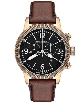 burberry s swiss chronograph brown leather