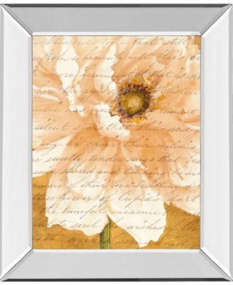 "Beautiful Cream Peonies Script II by Patricia Pinto Mirror Framed Print Wall Art, 22"" x 26"""