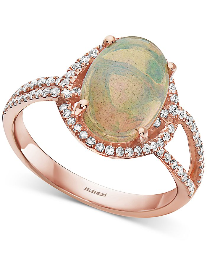EFFY Collection - Opal (2-1/10 ct. t.w.) & Diamond (1/3 ct. t.w.) Ring in 14k Rose Gold