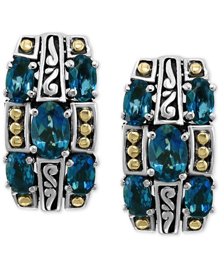 EFFY Collection - London Blue Topaz Curved Drop Earrings (3-1/3 ct. t.w.) in Sterling Silver & & 18k Gold