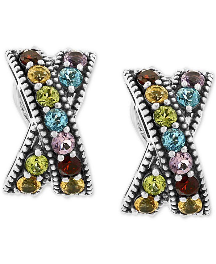 EFFY Collection - Multi-Gemstone Crisscross Curved Drop Earrings (3-1/5 ct. t.w.) in Sterling Silver