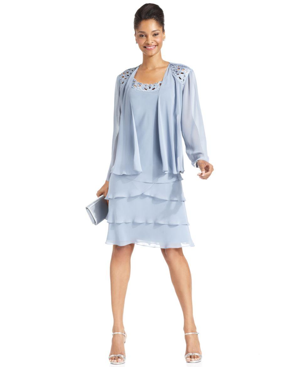 SL Fashions Petite Sleeveless Tiered Dress and Jacket   Dresses   Women