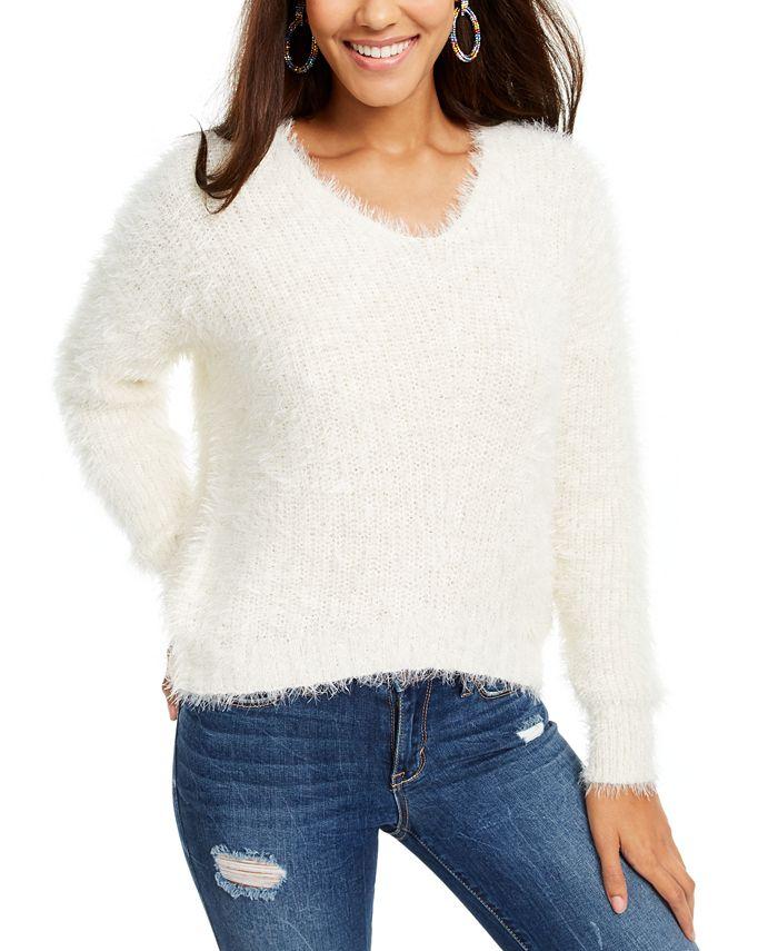 Freshman - Juniors' Eyelash-Knit V-Neck Sweater