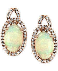 EFFY® Opal (2-5/8 ct. t.w.) & Diamond (1/3 ct. t.w.) Drop Earrings in 14k Rose Gold