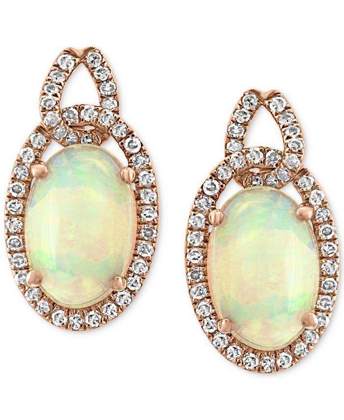 EFFY Collection - Opal (2-5/8 ct. t.w.) & Diamond (1/3 ct. t.w.) Drop Earrings in 14k Rose Gold