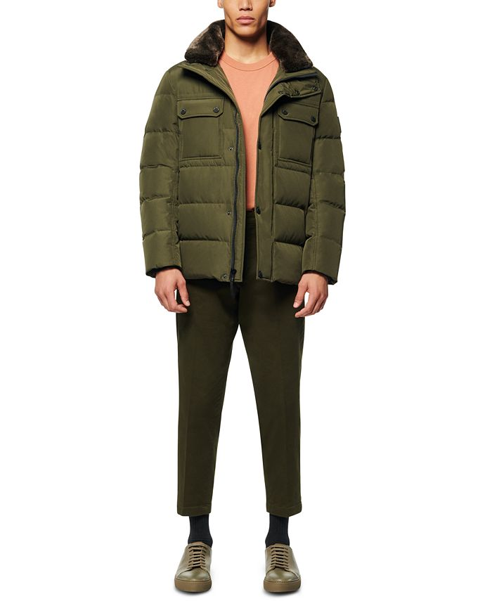 Marc New York - Men's Godwin Down Filled Trucker Jacket with Removable Faux Fur Collar and Hidden Hood