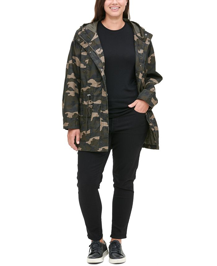 Levi's - Cotton Printed Fishtail Hooded Parka Jacket