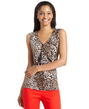 kasper top, sleeveless animal-print v-neck