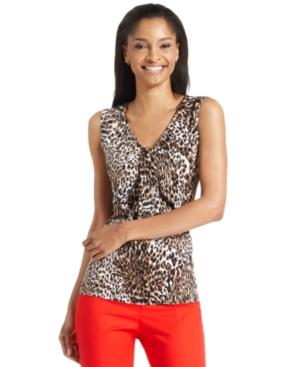 kasper top, sleeveless animal-print v-neck