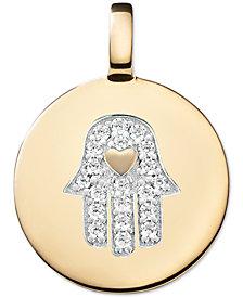 CHARMBAR Swarovski Zirconia Hamsa Hand Charm Pendant in 14k Gold-Plated Sterling Silver