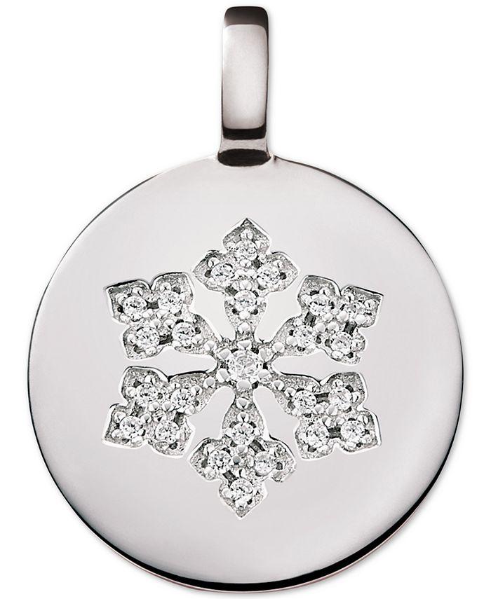 CHARMBAR - Swarovski Zirconia Reversible Snowflake Charm Pendant in Sterling Silver