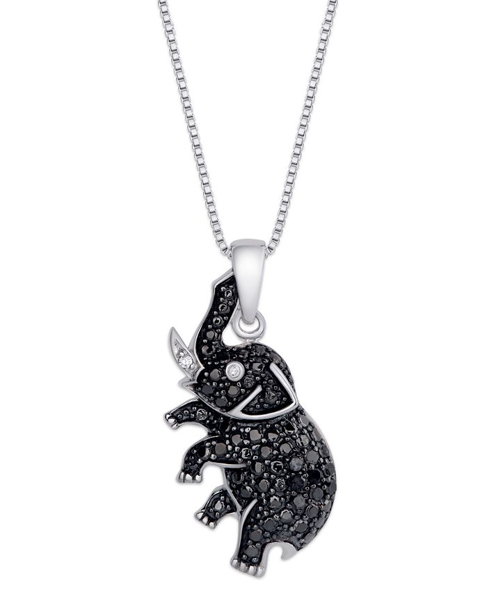 Macy's - Black and White Diamond (1/10 ct. t.w.) Elephant Pendant Necklace in Sterling Silver