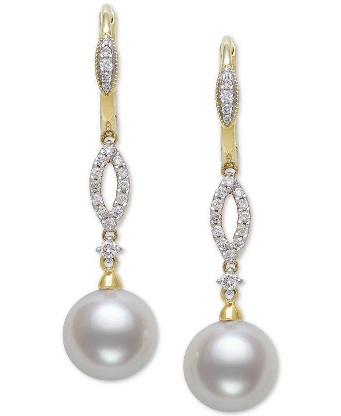 Belle de Mer - Cultured Freshwater Pearl (9mm) & Diamond (1/4 ct. t.w.) Drop Earrings in 14k Gold