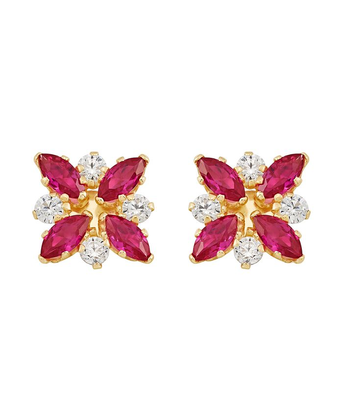 Macy's - Certified Ruby (1-1/3 ct. t.w.) and White Topaz (1/3 ct. t.w.) Flower Cluster Earrings in 10k Yellow Gold