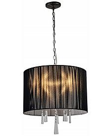 Artiva USA Modern, Comtemporary Elina 5-Light Crystal Chandelier with Threaded Silk Shade