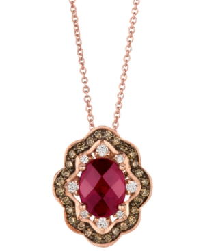 Le Vian 14k Rose Gold Necklace, Rhodolite (1-3/4 ct. t.w.) and Diamond and Chocolate Diamond (3/8 ct. t.w.) Oval Pendant