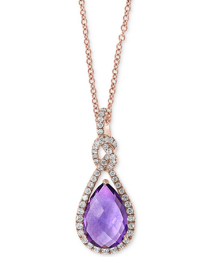 "EFFY Collection - Amethyst (2-1/2 ct. t.w.) & Diamond (1/4 ct t.w.) 18"" Pendant Necklace in 14k Rose Gold"