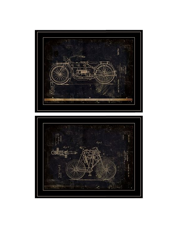 "Trendy Decor 4U Motor Bike Patent I II 2-Piece Vignette by Cloverfield Co, Black Frame, 15"" x 19"""