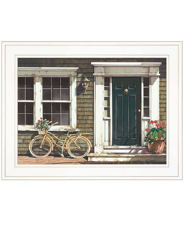 "Trendy Decor 4U Parked Out Front by John Rossini, Ready to hang Framed Print, White Frame, 19"" x 15"""
