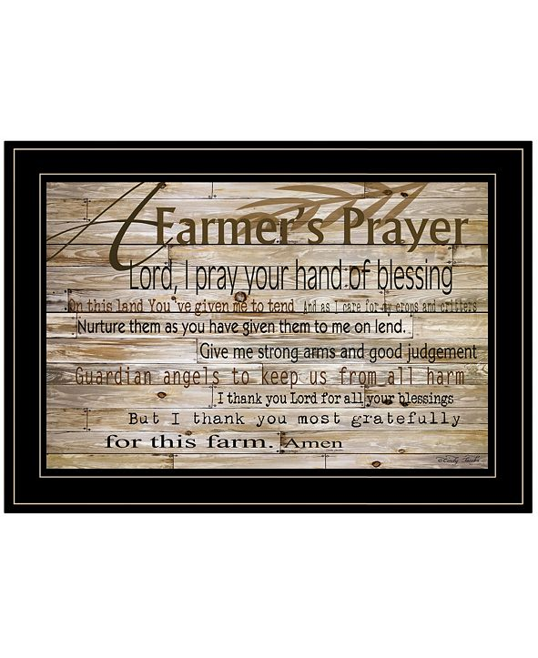 "Trendy Decor 4U A Farmer's Prayer by Cindy Jacobs, Ready to hang Framed Print, Black Frame, 21"" x 15"""