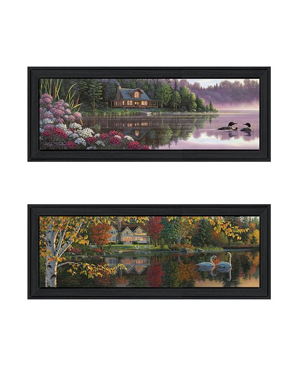 """Trendy Decor 4U Lake Panoramic Beauty Collection By Kim Norlien, Printed Wall Art, Ready to hang, Black Frame, 27"""" x 11"""""""