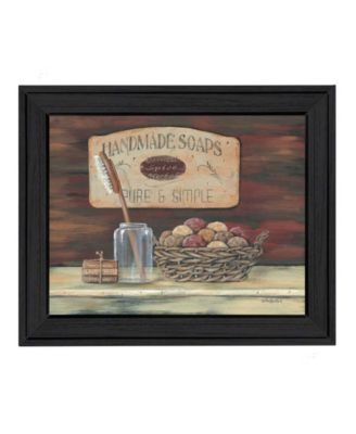 HANDMADE SOAPS-by Pam Britton, Ready to hang Framed print, Taupe Frame, 17