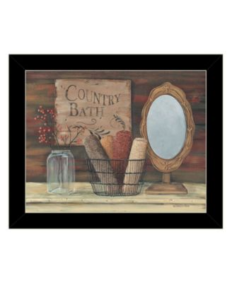 Country Bath by Pam Britton, Ready to hang Framed print, White Frame, 17
