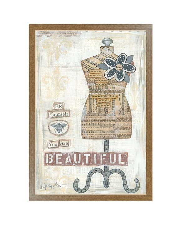 """Trendy Decor 4U Beautiful By Annie LaPoint, Printed Wall Art, Ready to hang, Brown Frame, 20"""" x 14"""""""