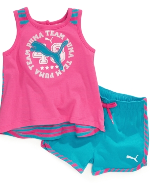 Puma Baby Set Baby Girls TwoPiece HighLow Striped Tank and Shorts