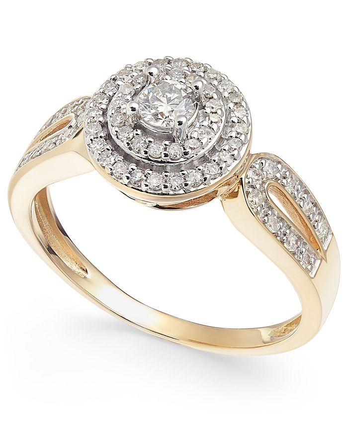 Macy's - Diamond Double Halo Engagement Ring (3/8 ct. t.w.) in 14k Gold