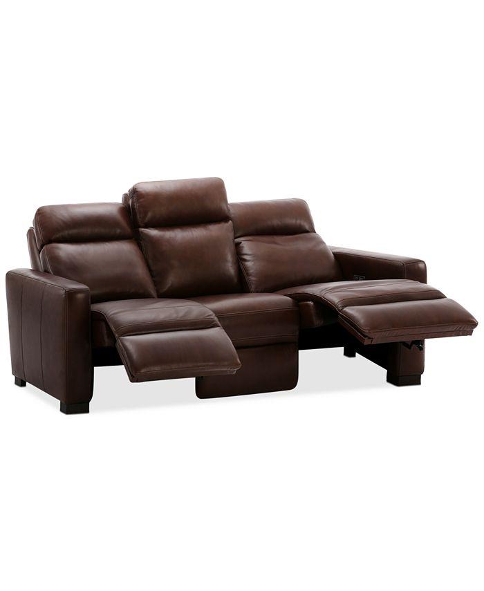 "Furniture - Hayvon 77"" Leather Dual Power Studio Sofa"