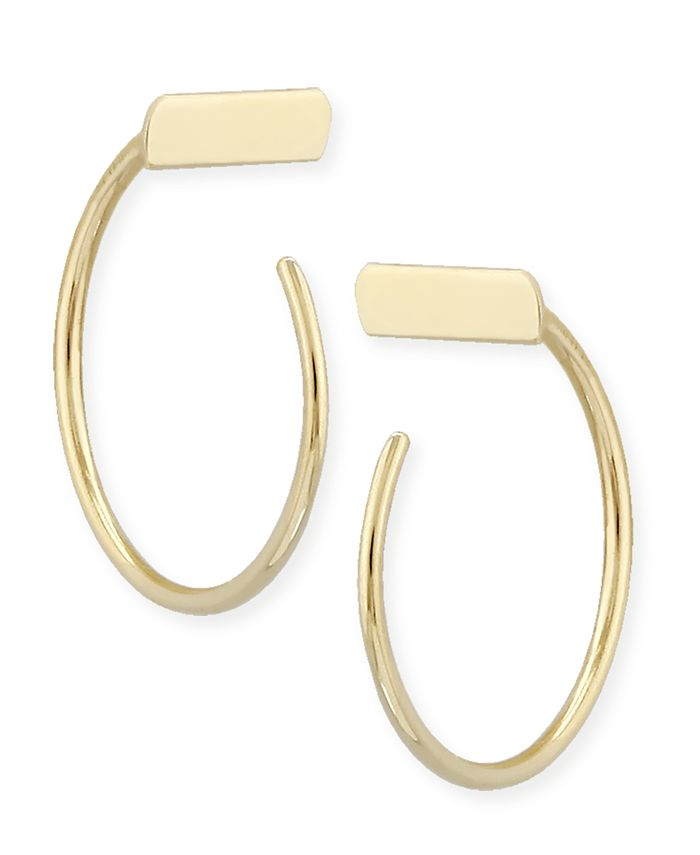Macy's - Bar Hoop Earrings Set in 14k Gold