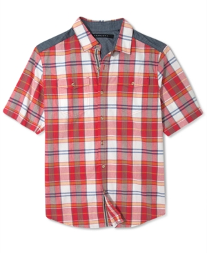 Sean John Short Sleeve Shirt Big and Tall Plaid Double Pocket