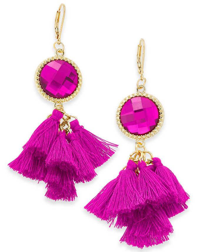 INC International Concepts - Gold-Tone Stone & Tassel Drop Earrings