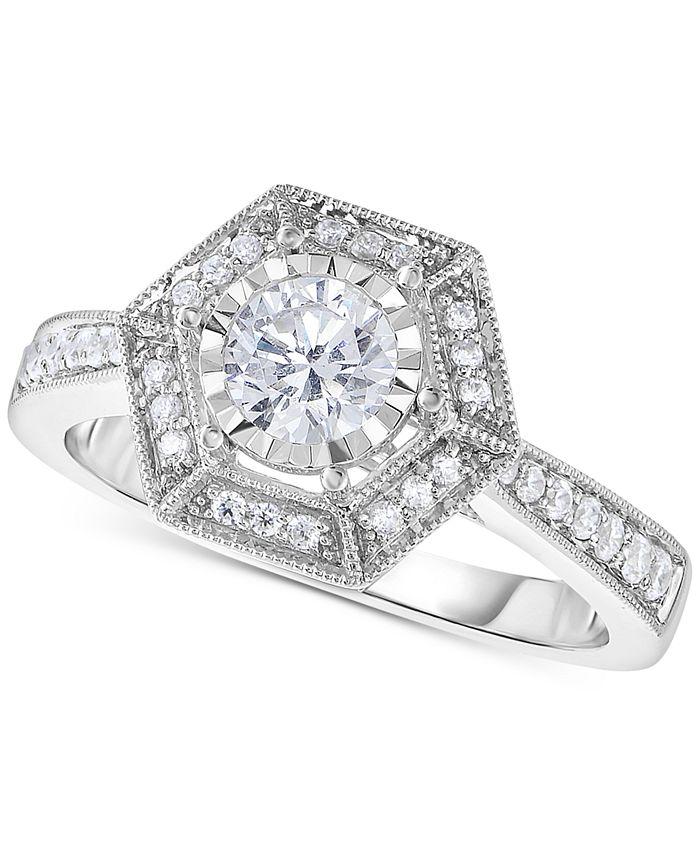 Macy's - Diamond Hexagon Halo Engagement Ring (5/8 ct. t.w.) in 14k White Gold