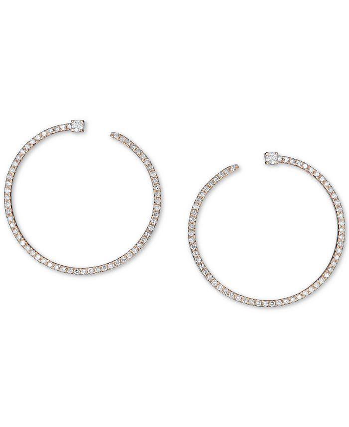 Macy's - Diamond Front & Back Hoop Earrings (3/8 ct. t.w.) in 14k Gold