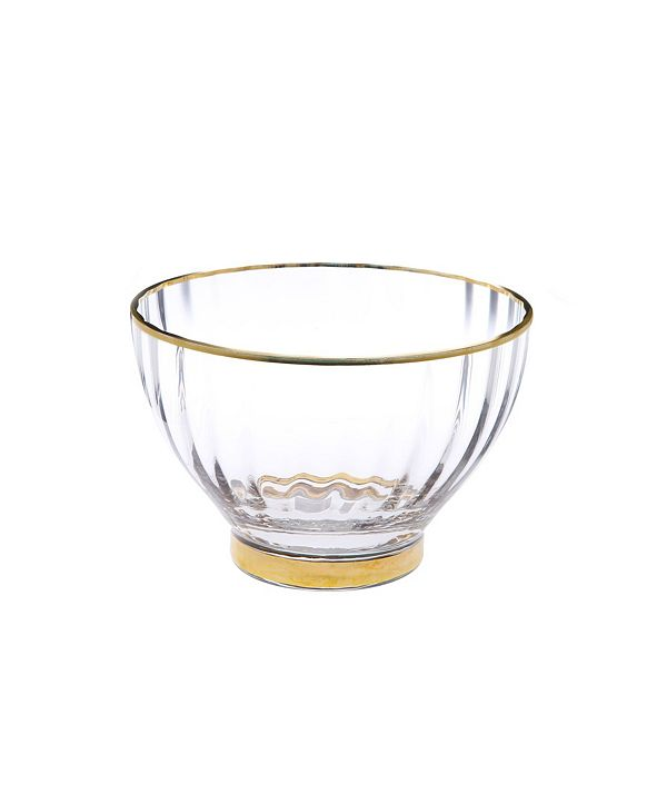 Classic Touch Set of 4 Straight Line Textured Dessert Bowls with Vivid Gold Tone Rim and Base