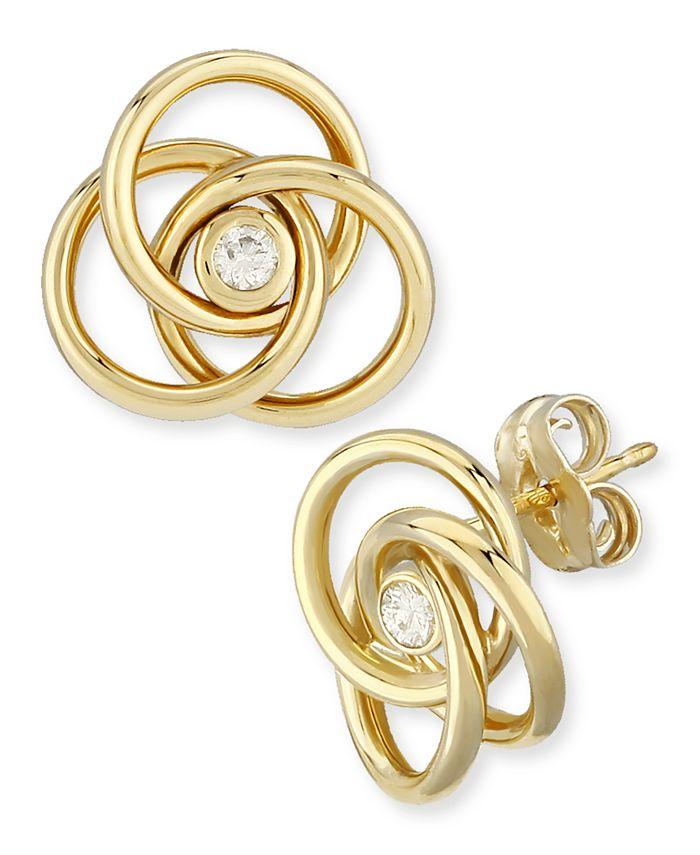 Macy's - Diamond Accent Love Knot Earrings in 14K Yellow Gold