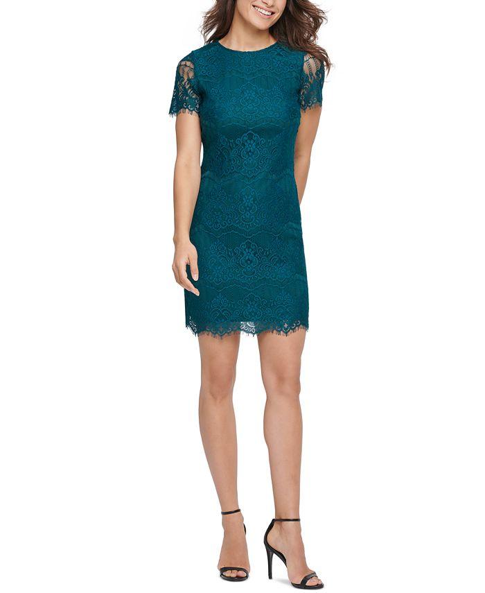 kensie - Kensie Scallop Lace Sheath Dress