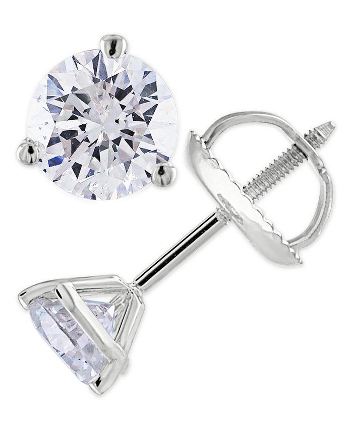 Macy's - Certified 1-1/4 ct. t.w. Diamond Stud Earrings in 14k White or Yellow Gold