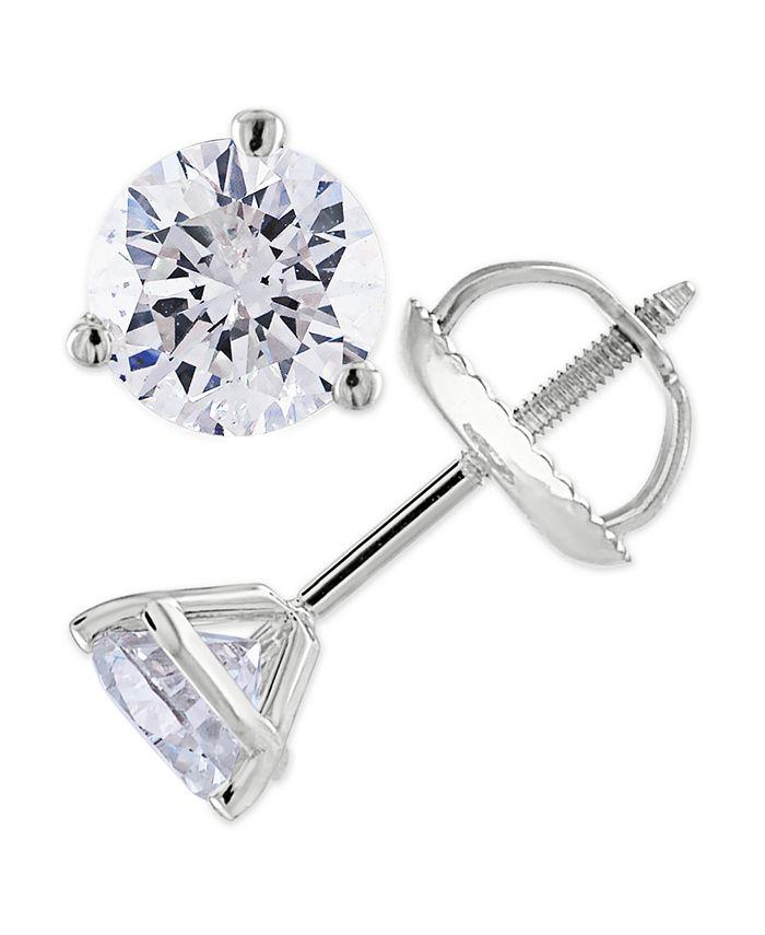 Macy's - Certified 3/4 ct. t.w. Diamond Stud Earrings in 14k White or Yellow Gold