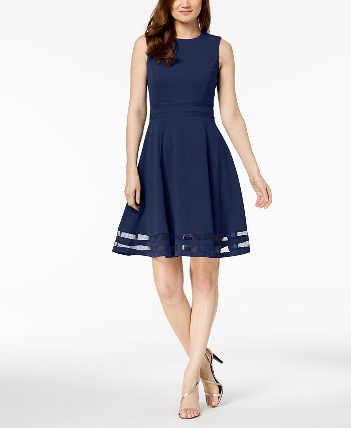 Calvin Klein - Illusion-Trim Fit & Flare Dress