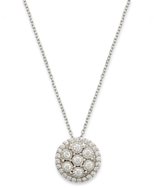 TruMiracle Diamond Cluster Pendant Necklace in 10k White Gold (1/3 ct. t.w.)