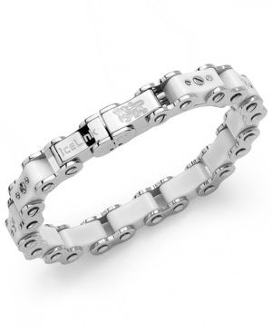 IceLink - Stainless Steel Bracelet, Medium White Bicycle Bracelet