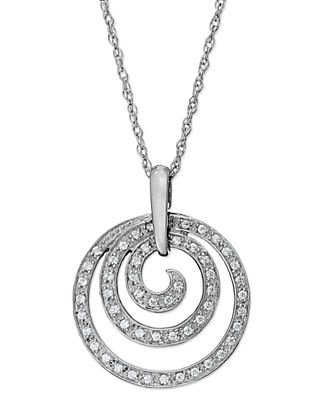 Macy's Jewelry Sale now sterling silver diamond swirl pendant necklace