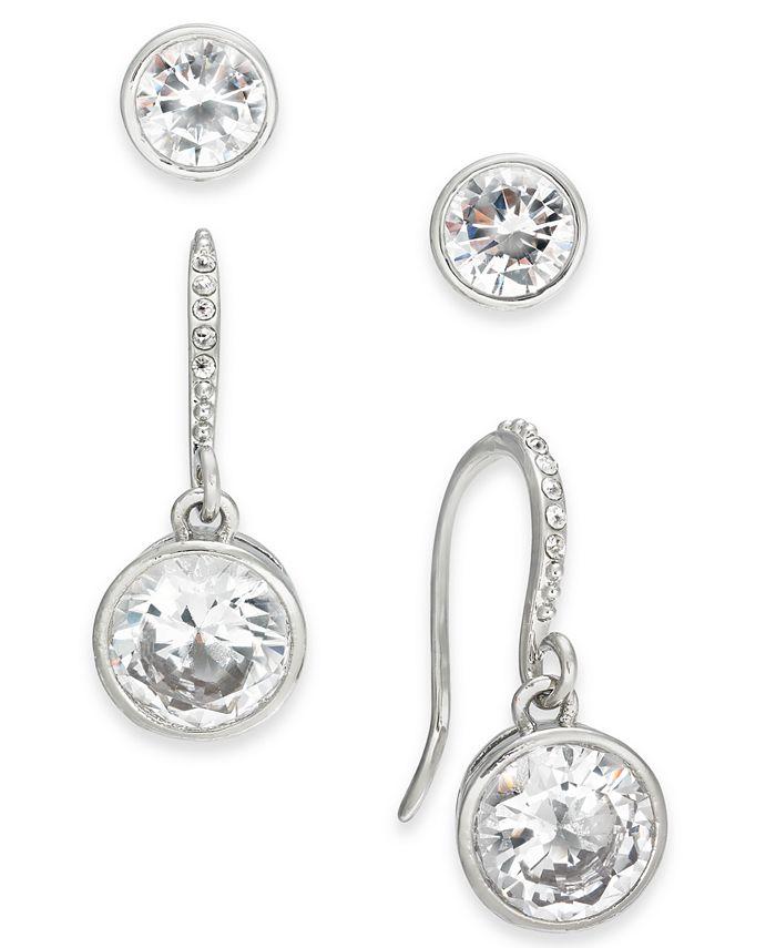 Alfani - Silver-Tone 2-Pc. Set Crystal Stud & Drop Earrings